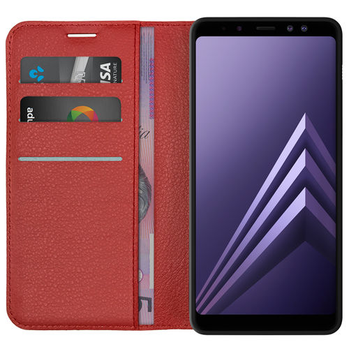 Leather Wallet Case & Card Holder - Samsung Galaxy A8+ (2018) - Red
